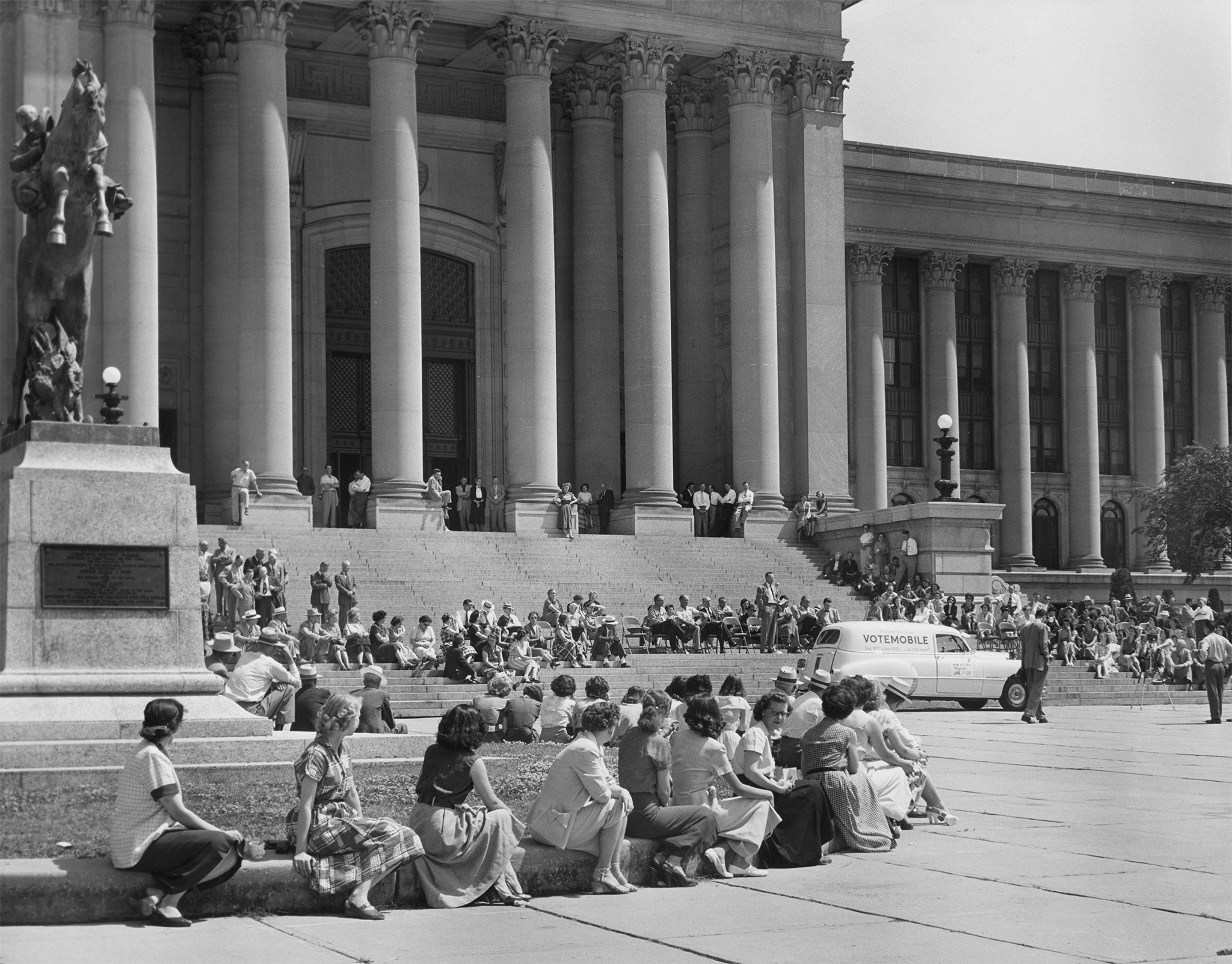 During Oklahoma Farm Bureau's get-out-the-vote campaign, the organization launched the Votemobile, a sound truck that toured the state spotlighting the dates for registration and voting. The story attracted nationwide attention after debuting at the Votemobile's ceremony on the south steps of the Oklahoma State Capitol May 26, 1952, as shown above. After the ceremony, Gov. Johnston Murray pushed the red, white and blue vehicle a few feet, officially launching the campaign.