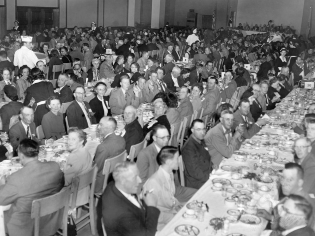 The Annual Family Party at the 1951 OKFB Convention was held at Oklahoma State University's Student Union. Dr. Kenneth McFarland, an educational consultant and public speaker for General Motors Corporation and a guest lecturer for Reader's Digest, delivered the after-dinner speech.