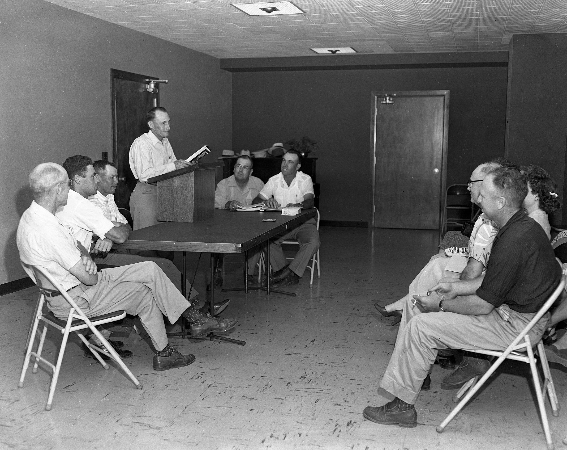 Members were faced with a highly divisive issue in the early days of Oklahoma Farm Bureau: commodity price supports. Several counties, such as Comanche County pictured here, held a series of debates on the issue to encourage members to research and present their opinions on the matter. This photo, taken in 1953, includes (left to right) Homer Turner, Charles Hasenbeck, Paul Scheetz, Charlie Bard, Stanley Caha and Elbrege Sullivan.