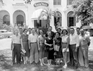 In 1953, a group including 16 OKFB members took a trip to the scenic Gulf Coast to study ways to make Farm Bureau better during an annual training school of the southern region of the American Farm Bureau Federation in Biloxi, Mississippi. The entire group stands in front of the beautiful Buena Vista Hotel, where the training school was headquartered.
