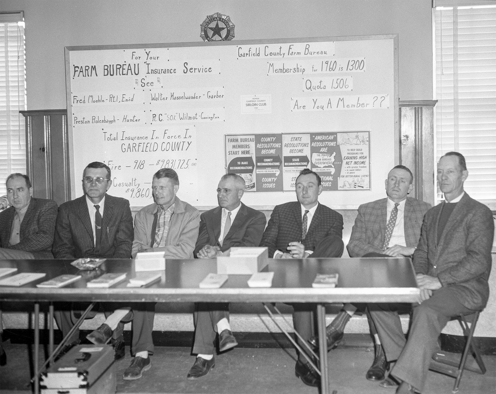 This booth was kept by the members of Garfield County Farm Bureau at a crop and soils clinic in Enid in 1960. Pencils, rulers and leaflets were given to all who passed by the booth. About 600 people attended the event.