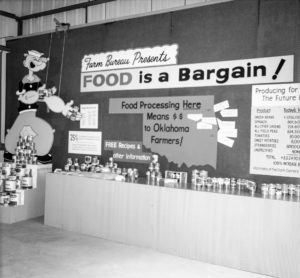 "This booth was assembled at the Oklahoma City Fair in 1964. ""Food is a Bargain"" was the theme for the booth, presenting a story on a truth of Oklahoma agriculture that many consumers did not understand: a story detailing the economic impact of vegetables grown in Oklahoma and processed in the state and western Arkansas."