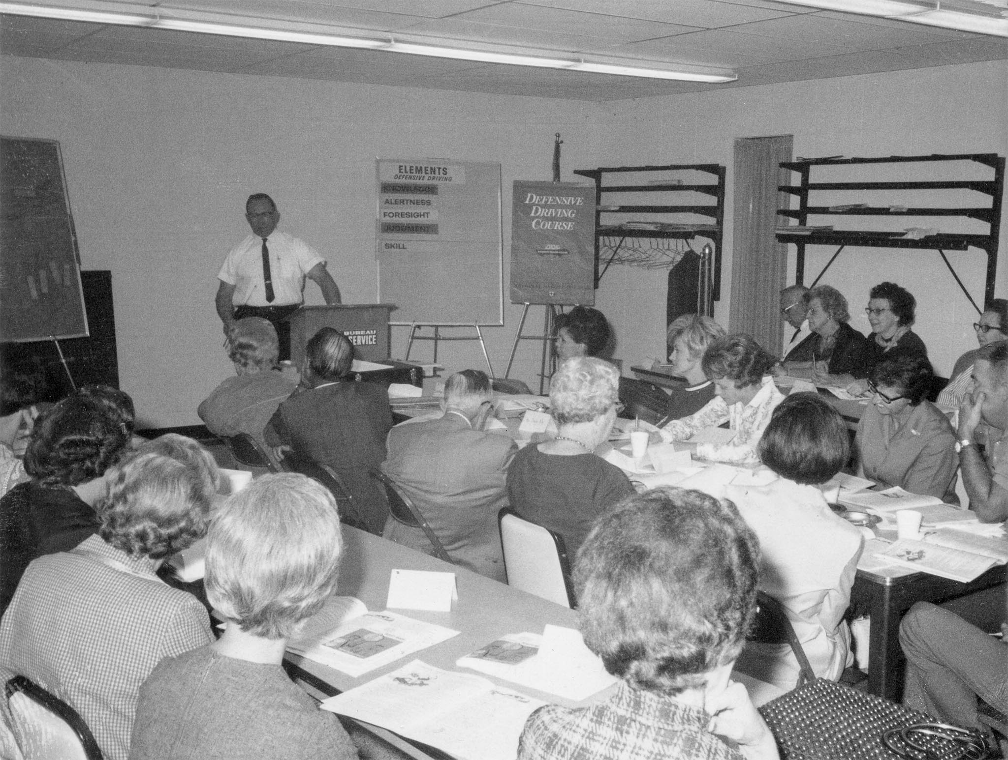 A popular OKFB Safety Service program was the defensive driving class, such as this 1968 event in Enid. Led by instructors Ted Payne and Ervin Heidebrecht, the course included methods of staying alive on the highway and the fundamentals of defensive driving.