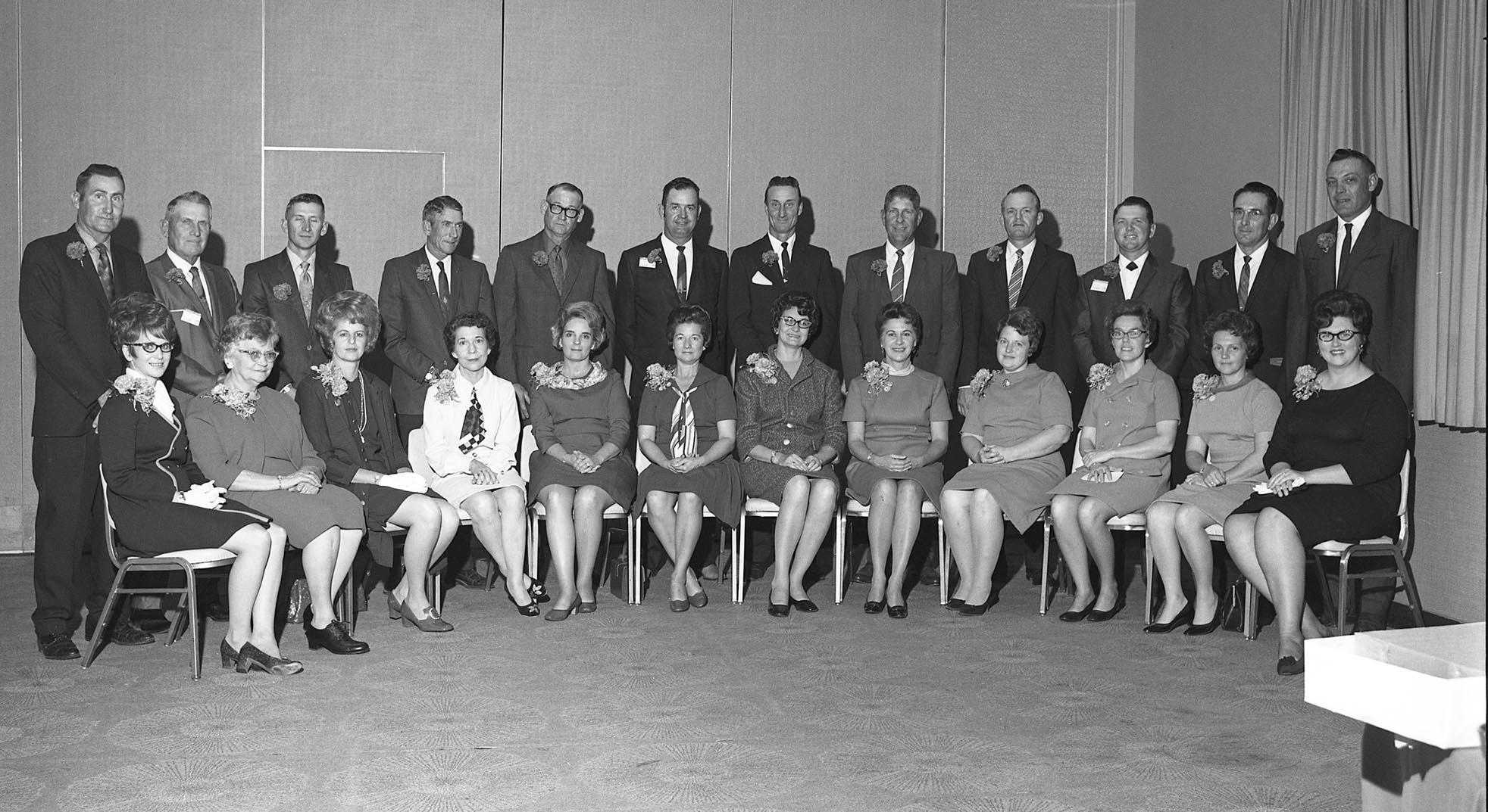 The 12 Farm Families of the Year candidates for 1969 pose for a group photo. Entries from across the state came from the counties of Alfalfa, Atoka, Beaver, Caddo, Cimarron, Cotton, Grady, Kiowa, Logan, Noble, Oklahoma and Tulsa. Sponsored by the Oklahoma Farm Bureau Women, the Farm Family of the Year award was created in 1957 in an effort to recognize outstanding families in Oklahoma who dedicated their life to agriculture.