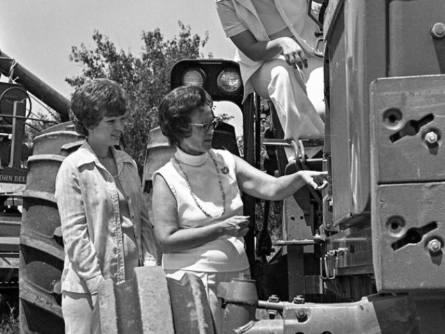 On September 4, 1975, the Noble County's WLC conducted a Ladies Tractor Driving School at the county fairgrounds. This photo shows Mrs. Ronnie Golliver, Chairman; Mrs. David Sherrard, Vice Chairman; and Mrs. John Main, Secretary, planning subject material for the school.