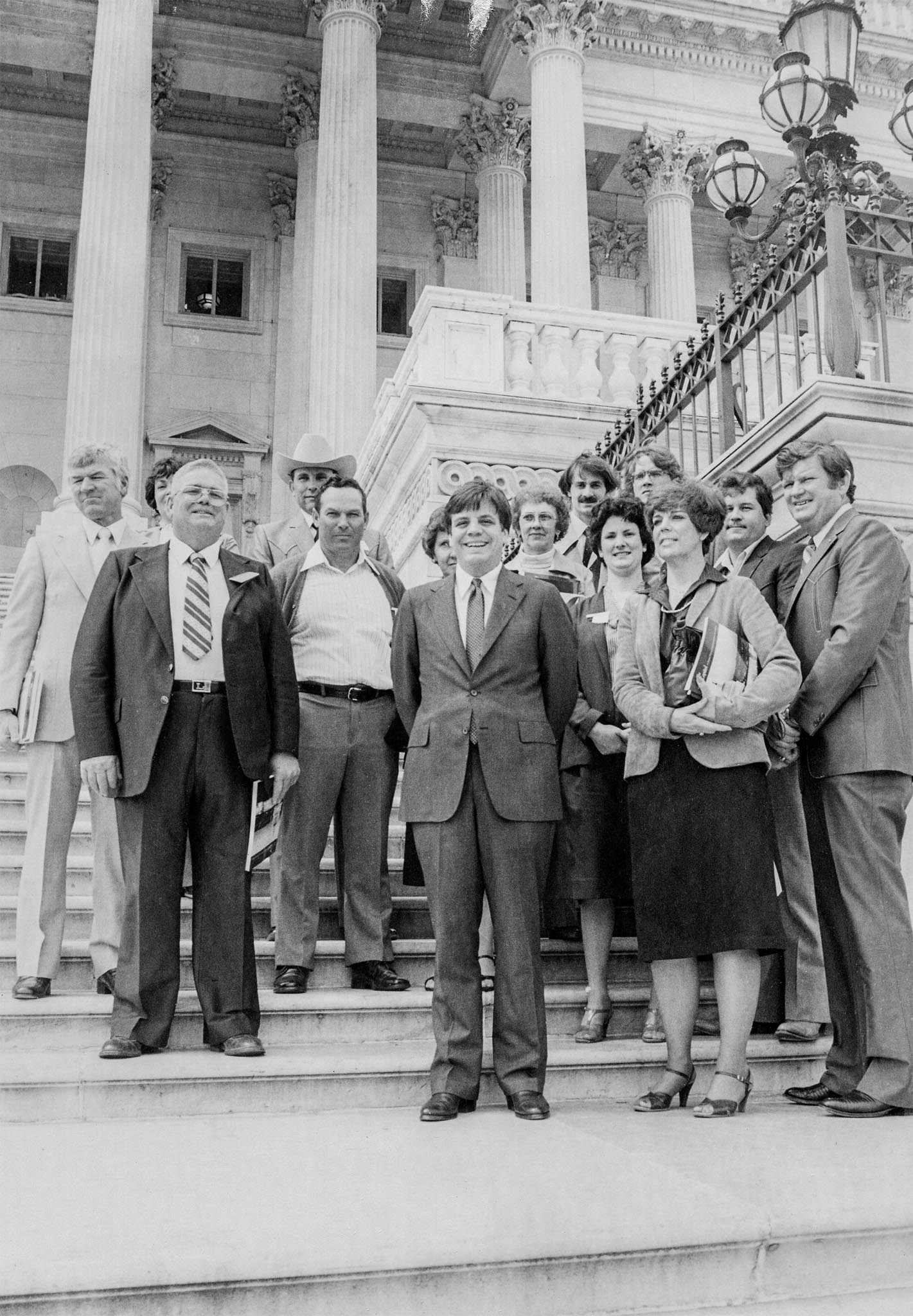 This group of Oklahoma Farm Bureau members traveled to Washington, D.C., in 1982 during the annual legislative tour where they met with Rep. Mike Synar on the front steps of the Capitol building. From left to right are Richard and Carol Linihan of Oologah, Albert Lee of Pryor, Gary Fisher of Tahlequah, Dick and Clara Sheffield of Fort Gibson, Rep. Synar, Ima Landrum of Tulsa, Robin Landrum of Tulsa, Karen Leeds of Fort Gibson, Randy Moore of Inola, Gayle Perry of Fort Gibson, Larry Leeds of Fort Gibson and Arlie Perry of Fort Gibson.