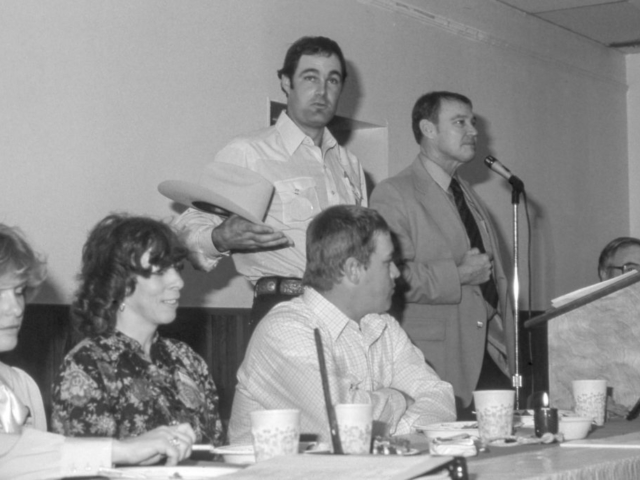 This photo of Payne County Farm Bureau's annual meeting in 1984 illustrates the typical scene found in counties across the state during fall. In 1984, Oklahoma Farm Bureau members brought several resolutions concerning the federal fiscal policy to recommend to the American Farm Bureau Federation.
