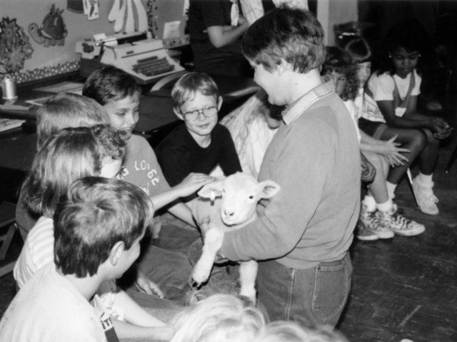Taken in 1990, this photo shows the heart of the Ag in the Classroom program: introducing agriculture to students who have little or no connection to farming and ranching. Logan County Farm Bureau's Linda Fruendt made the Ag in the Classroom program come alive for these Guthrie elementary students with a Dorset lamb. Fruendt told the students how farmers care for their livestock and presented a brief summary on raising animals. The highlight of the program for the students seemed to be when each had the opportunity to hold and pet the lamb. The Oklahoma Farm Bureau Women's Leadership Committee continues to proudly support the Ag in the Classroom program on many levels, helping Oklahoma educators learn more about agriculture and how to incorporate farming and food into their daily classroom activities.