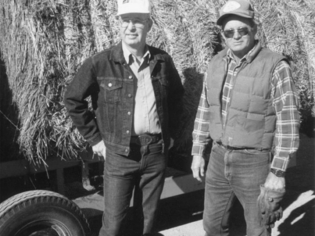 "In 1990, about 100 Oklahoma farmers and ranchers donated more than 300 tons of hay to drought-stricken parts of south Texas. The donations came as a result of the ""South Texas Haylift,"" a cooperative effort among Farm Bureau members that grew to encompass even non-members. Shown here, Logan County Farm Bureau President Bill Kinney (left) and Vice President Oliver Rudd watch donated hay being loaded onto railcars as they stand in front of a trailer waiting to be unloaded. The hay was loaded on the railcars at the Marshall Co-op and the Guthrie Santa Fe depot and routed to Texas cattlemen in Bexar, Atascoas and Victoria counties, where accumulated rainfall was less than 12 inches in the previous two years."