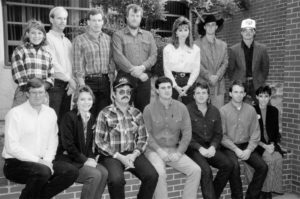 This photo features the 1992 OKFB state Young Farmers & Ranchers Committee. Back row are (left to right) Barbie Deevers from the American Farm Bureau Federation YF&R Committee, Thad Doye, Howard Bartel, Jimmy Mabry, Becky Clovis, Leross Apple and Joe Parker. Front row are (left to right) Kevin Deevers from the AFBF YF&R Committee, Jessi Farmer, Francis Parizek, Rick Clovis, Brian Lebeda, Jimmy Fruedenberger and Kelli Parker.