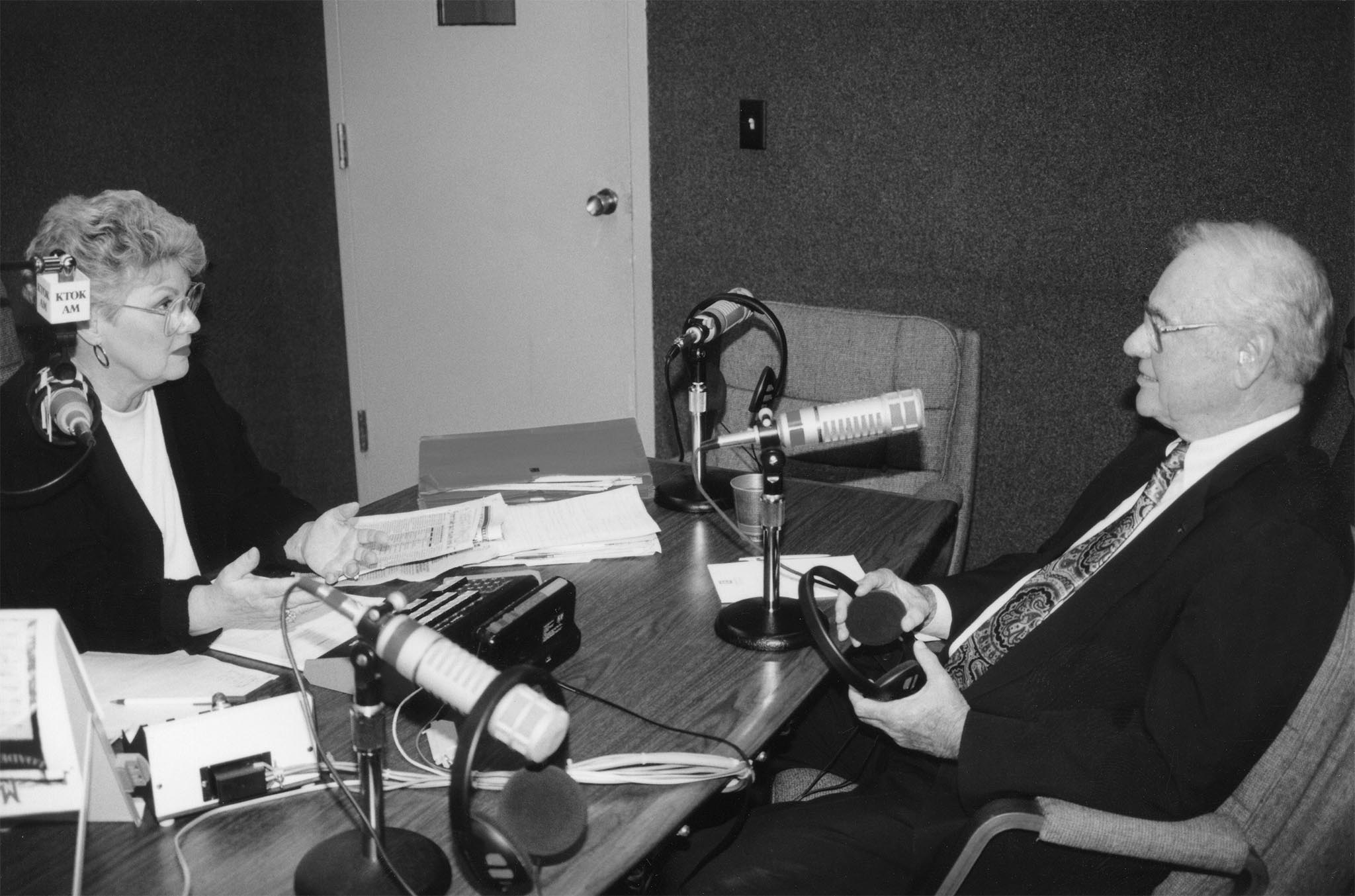 In 1993, the creation of the North American Free Trade Agreement was a hot agricultural topic. With farmers and ranchers holding a significant stake in the agreement, Oklahoma Farm Bureau President James L. Lockett chats with KTOK talk show host Carol Arnold in Oklahoma City, prior to going on the air to discuss the Farm Bureau position on NAFTA.