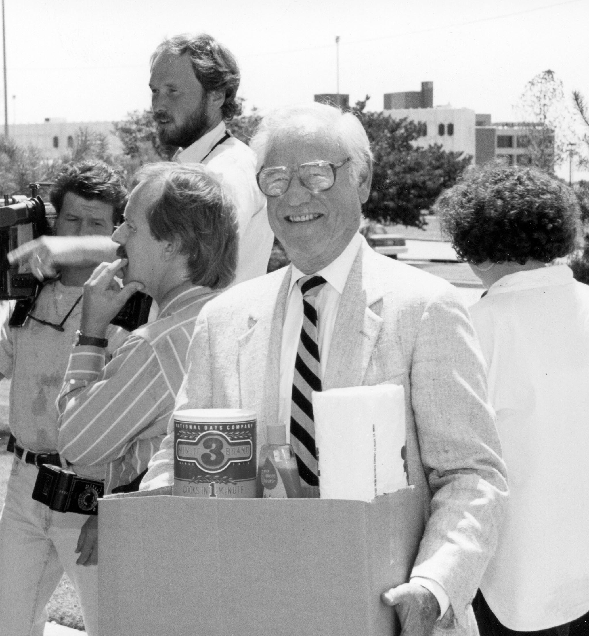The Great Flood of 1993 in the Midwest is considered one the most significant and damaging natural disasters in the history of the United States. Oklahoma Farm Bureau members stepped up to donate food, cleaning items, paper products and other goods to send to families hit hard by the flood. In this photo, OKFB President James L. Lockett lends a hand to load a relief truck headed for the flood-ravaged Midwest. OKFB members also sent monetary donations to a special disaster aid fund created by the American Farm Bureau Federation.