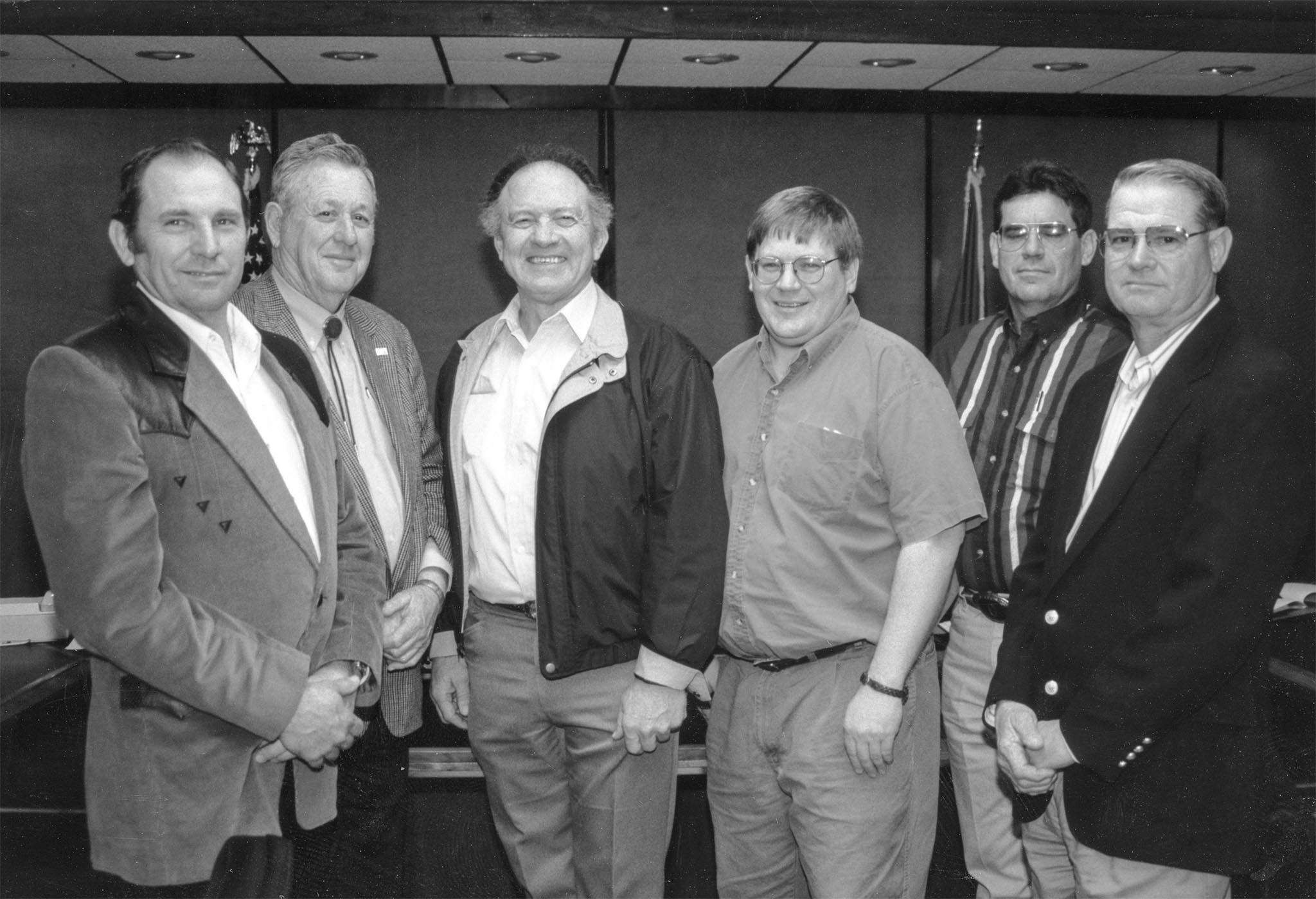 The chairmen of each commodity committee for 1996 gave reports detailing their activities during the American Farm Bureau Federation commodity meeting to the OKFB Board. The six also presented opinions on how to more effectively involve county Farm Bureau members and leaders in the activities of their commodities. Pictured are (left to right) Gary Fisher of Cherokee County, Poultry Advisory Committee Chairman; Merle Atkins of Tillman County, Cotton Advisory Committee Chairman; Jimmy Kinder of Cotton County, Beef Advisory Committee Chairman; Rodd Moesel of Canadian County, Ag Nursery and Greenhouse Advisory Committee Chairman; James Covey of Custer County, Wheat Advisory Committee Chairman; and Doyle Wilson of Hughes County, Peanut Advisory Committee Chairman.
