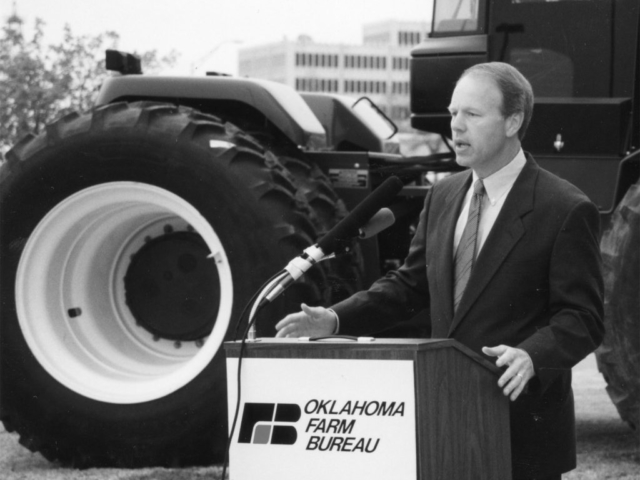 U.S. Sen. Don Nickles, Assistant Majority Leader, speaks at a press conference at OKFB headquarters in Oklahoma City on April 2 of that year where he unveiled a measure to reduce the federal estate tax burden.