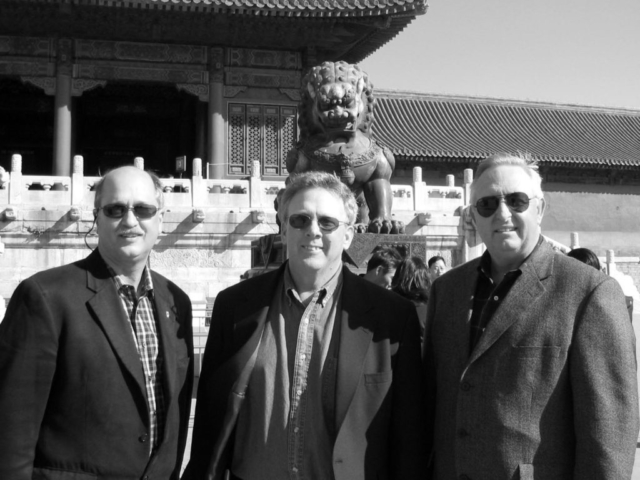 Oklahoma Farm Bureau President Steve Kouplen (right) joined an American Farm Bureau Federation delegation on an agricultural trade mission to China in March 2004 to promote Oklahoma agriculture products while experiencing other cultures. Joined by Kouplen are Indiana Farm Bureau President Don Villowock (left) and Oregon Farm Bureau President Barry Bushue (center).