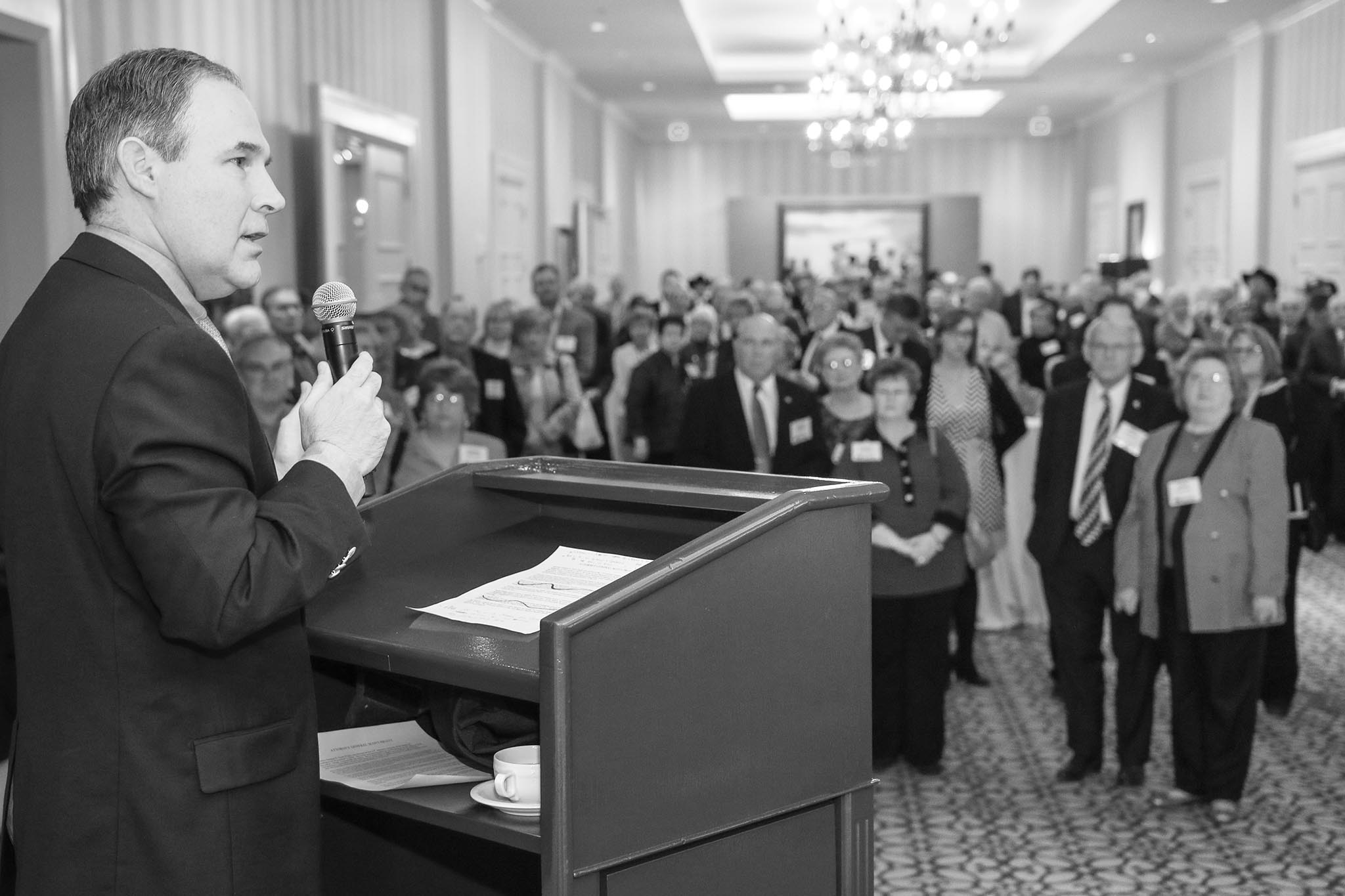 Oklahoma Attorney General Scott Pruitt speaks to a crowd of Oklahoma Farm Bureau members at the 2014 OKFB Legislative Leadership Conference at the Skirvin Hotel in Oklahoma City. Pruitt's address was a highlight of the two-day conference, which provided OKFB members a chance to personally connect with legislators, public officials and agricultural experts as they discussed emerging agricultural and policy issues.