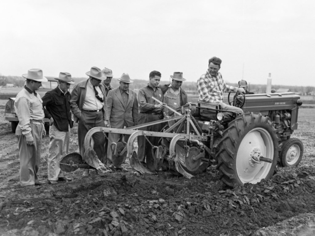 Pontotoc County Farm Bureau held this field day in 1953 at their demonstration farm to show local farmers new agricultural practices.