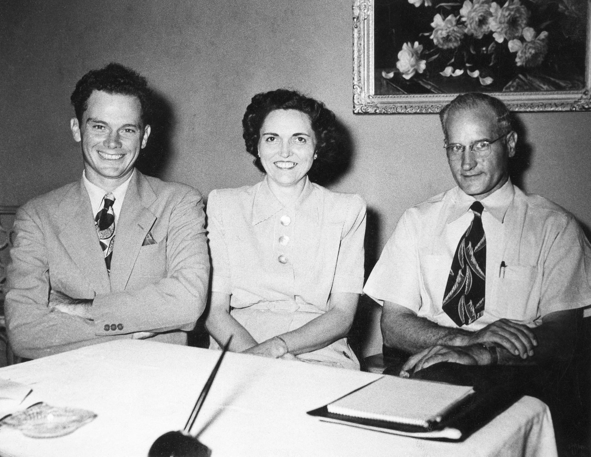 Here are some of the first leaders of Oklahoma Farm Bureau: Warren Newberry, President of Junior Farm Bureau; Mrs. Eugene Jones, Chairman of Associated Women; and John I Taylor, OKFB President.