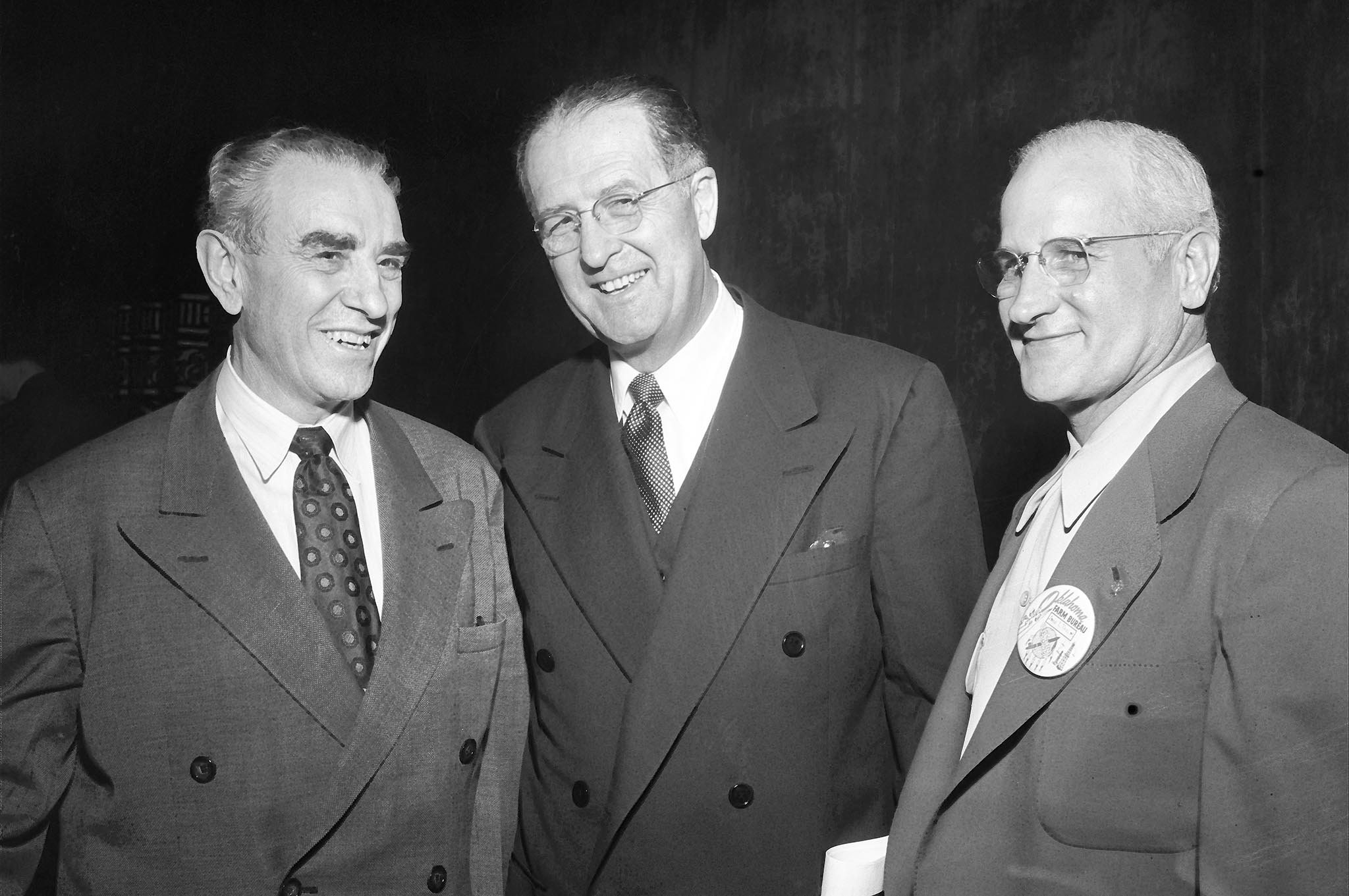 OKFB President John I. Taylor at the 1952 AFBF Convention in Seattle with Allan Kline and Clinton Anderson.